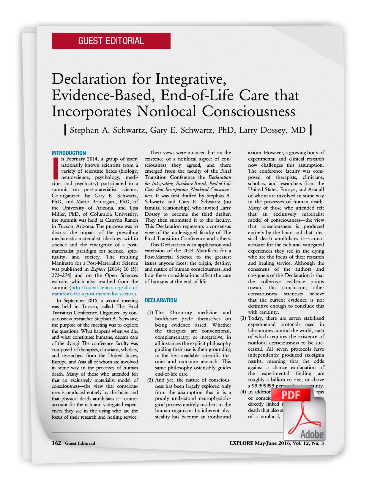 Declaration for Integrative, Evidence-Based, End-of-Life Care that Incorporates Nonlocal Consciousness